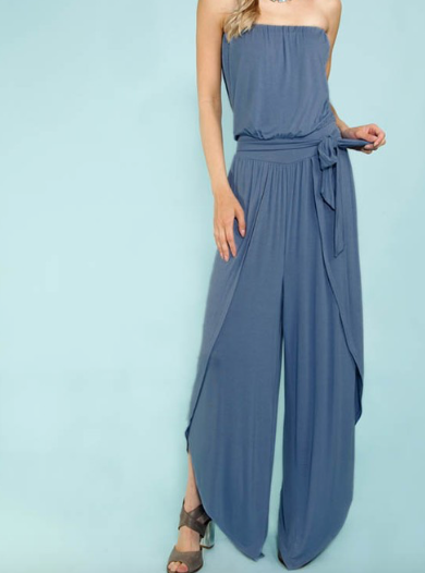Strapless Jumpsuit w/ Elastic Waist and Tie Belt