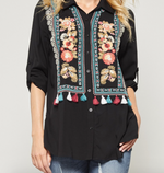Andree Embroidered Black Top w/ Fringe Detail