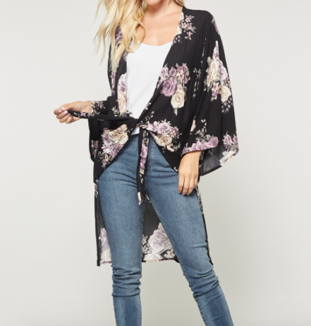 Andree Hi-Low Cardigan in Black w/ Floral Print