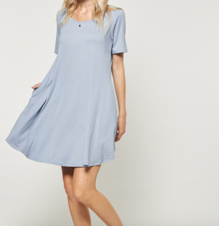 Andree A Line Dress w/ Pockets in Light Blue