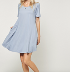 Andree A Line Dress w/ Pockets in Chambray