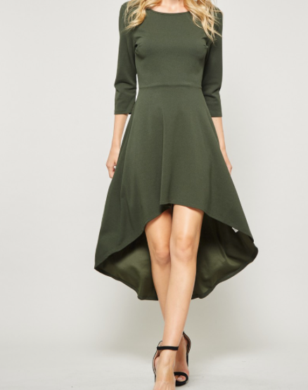Andree High Low Dress in Olive