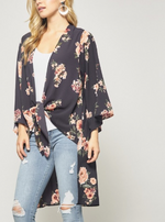 Andree by Unit Navy Cardigan with Pink Flowers and Tie in Front
