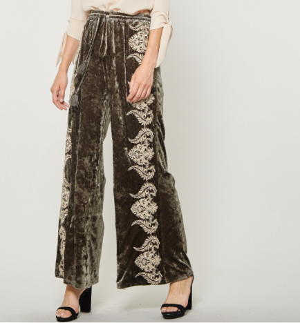 Andree by Unit Olive Crushed Velvet Pants with White Embroidery