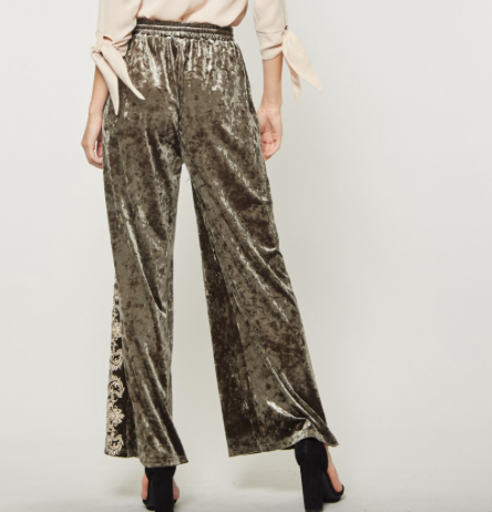 Andree by Unit Olive Crushed Velvet Pants with White Embroidery on Sale