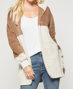 Two Tone Super Fuzzy Hooded Jacket w/ Pockets