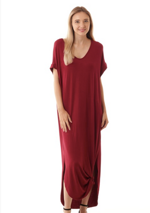 Side Tie Long Dress in Burgundy