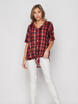 Red Plaid V-Neck Front Tie Top with Buttons
