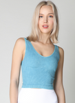 Nikibiki V Neck Ribbed Crop Top in Assorted Colors - tempting-teal-boutique