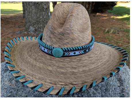 Laura Ingalls Designs Gus Palm Hat Whip Stitched in Turquoise