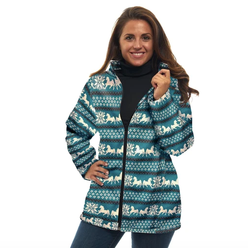 Nordic Animal Zip Up Sweater Jacket in Teal