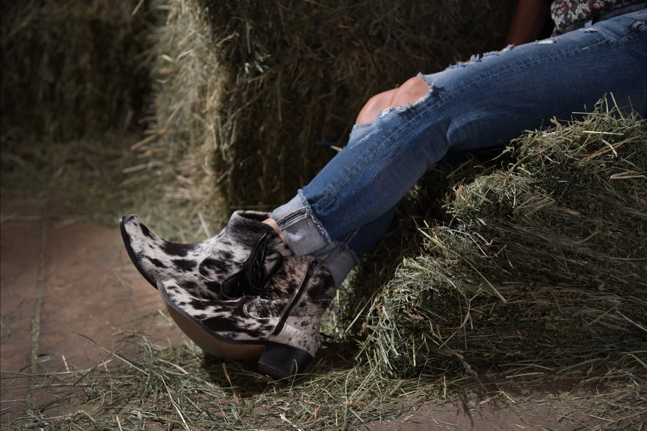 Agave Sky Ankle Cowhide Salt and Pepper Fringe Cowboy Boots