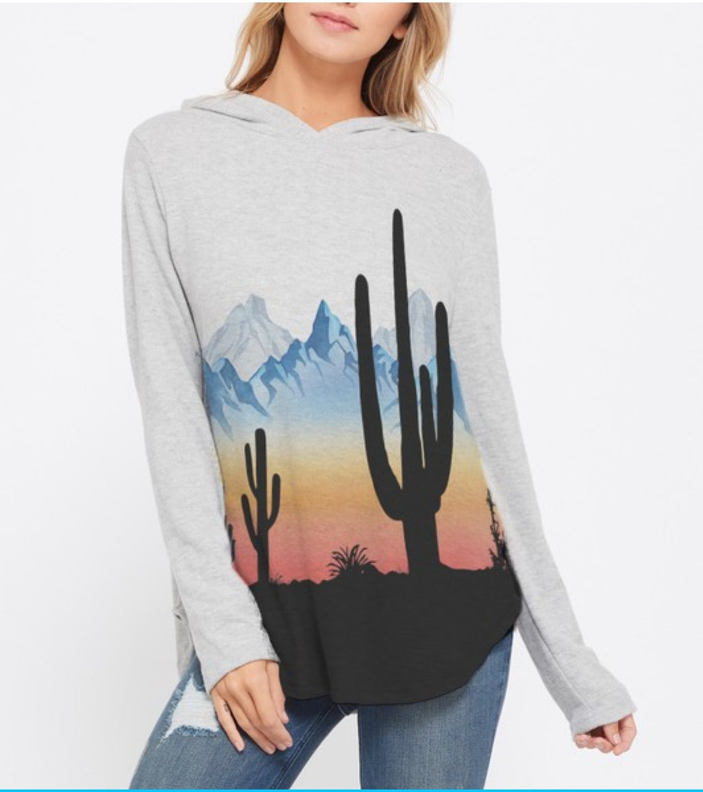 Desert Road Trip Cactus Hoodie Top in Grey