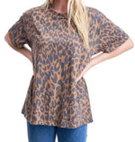 Gray Leopard Print Basic Boyfriend Top