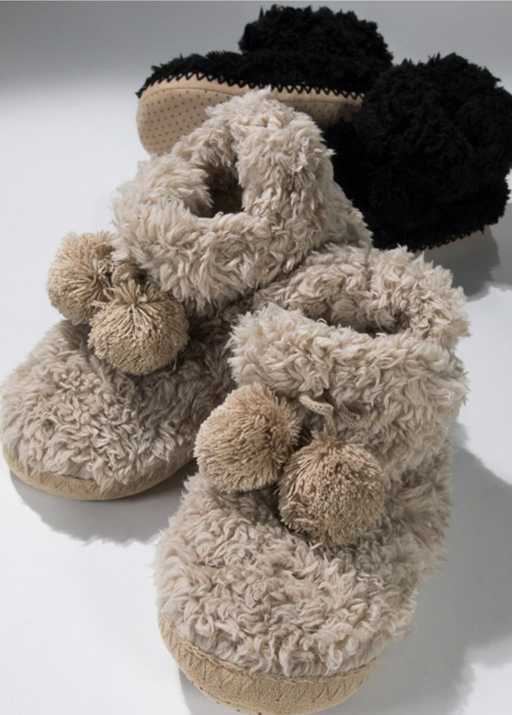 Faux Fur Slipper Boots w/ Pom Pom