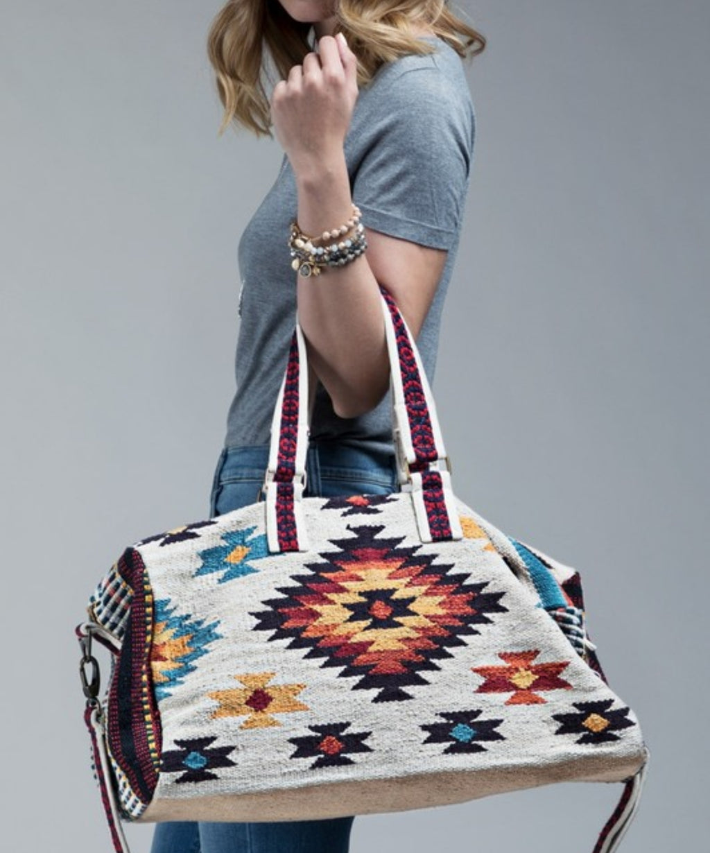 Ruggine Boho Chic Navajo Pattern Weekend Bag in Ivory