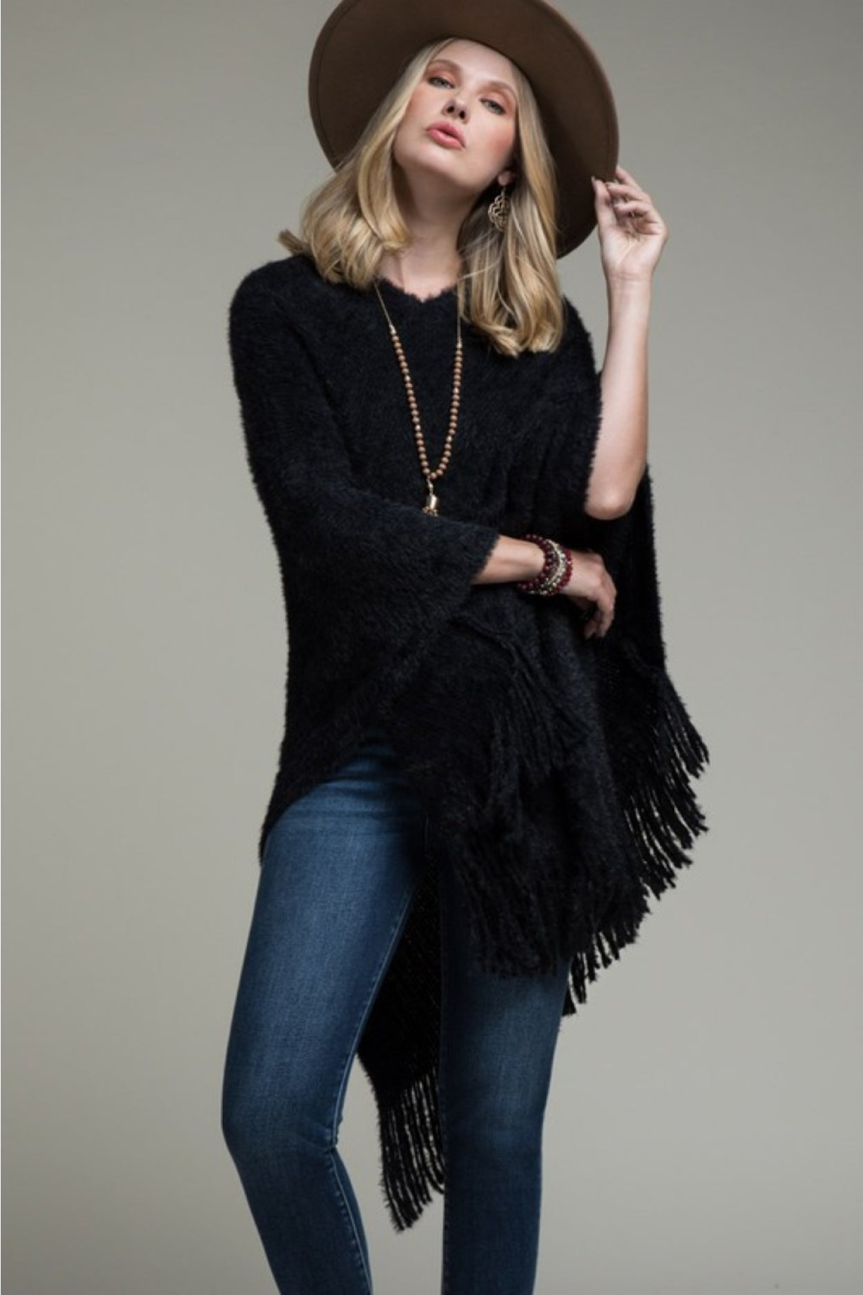 Soft Faux Fur Poncho with Fringe