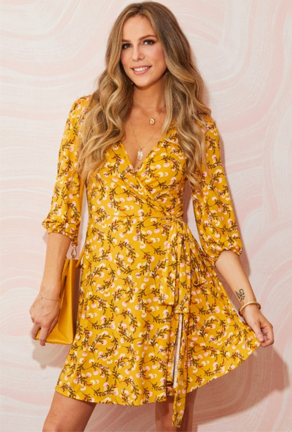 Mustard Floral Wrap Dress