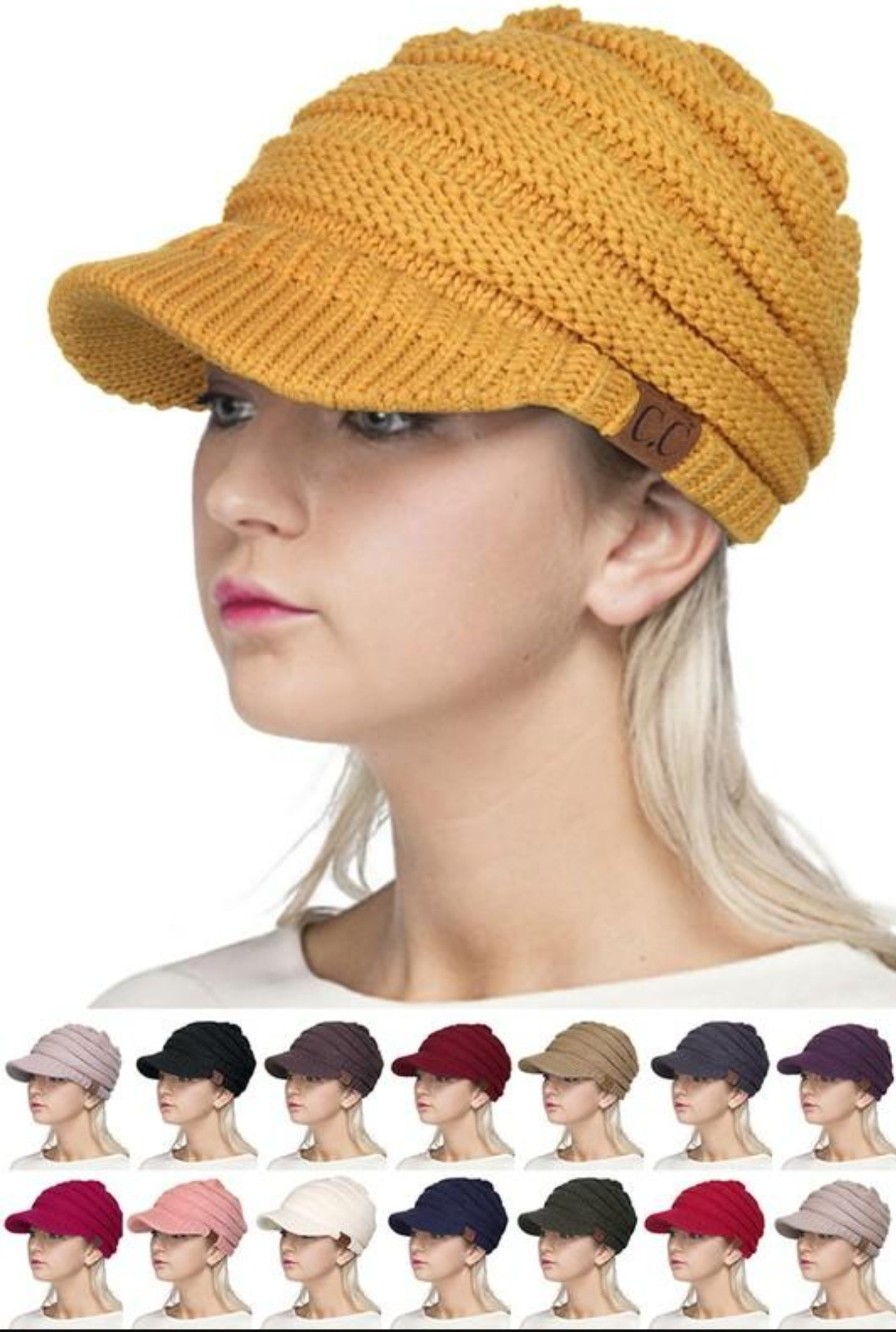 CC Ribbed Knit Hat with Brim