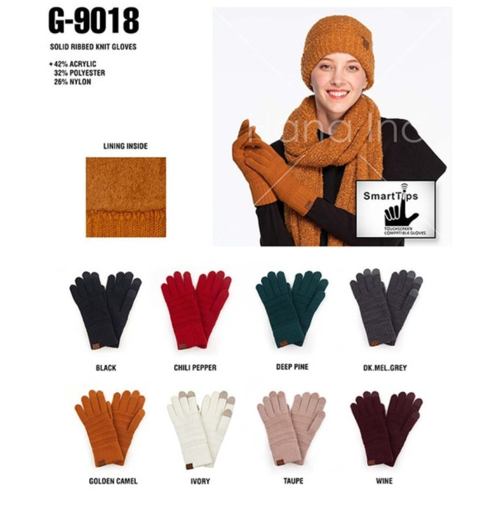 CC Ribbed Knit Gloves Smart Tip