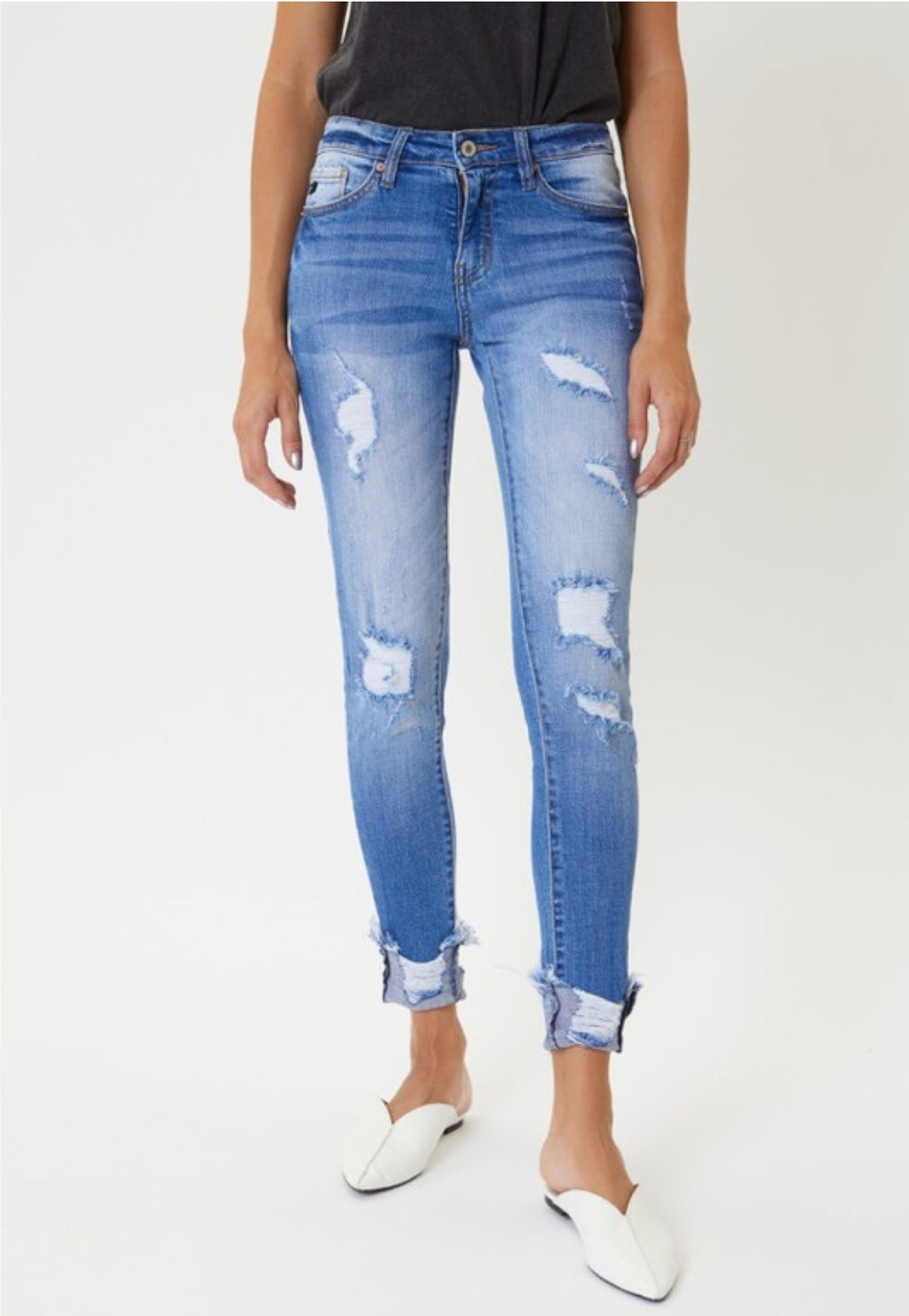 KanCan Florence Mid Rise Distressed Skinny Jeans