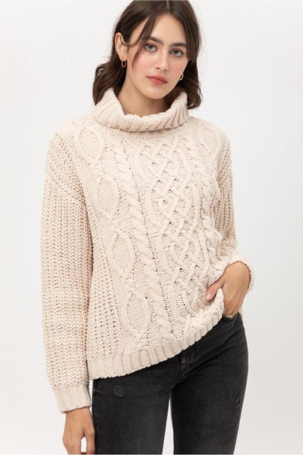 Cream Chenille Turtleneck Sweater