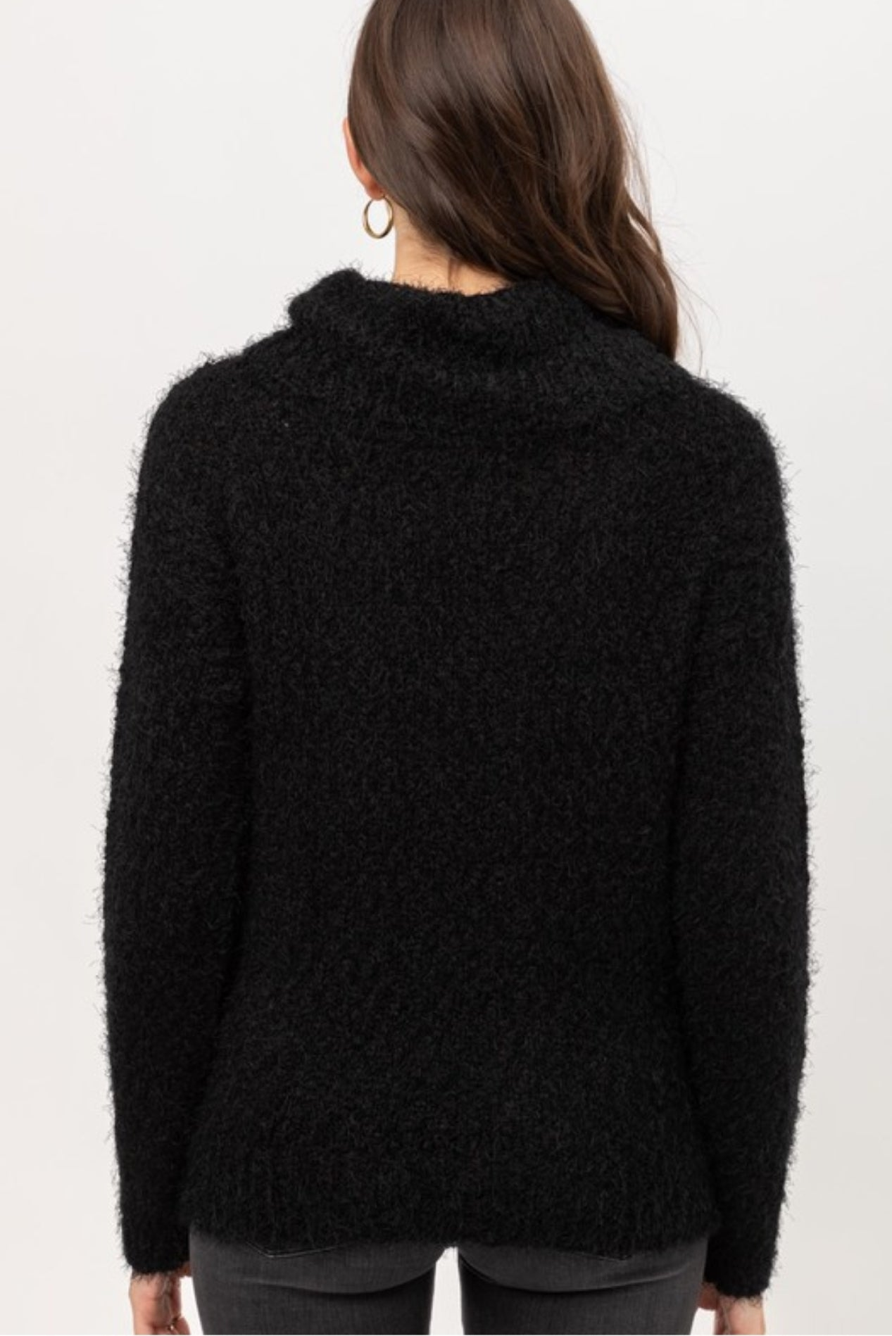 Super Soft Fuzzy Black Turtleneck Sweater
