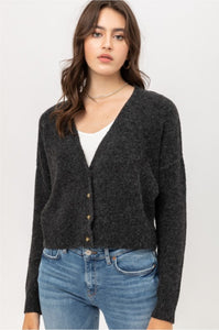 Heathered Black V-Neck Button Down Cropped  Sweater