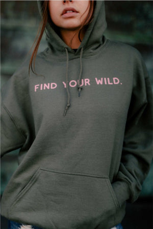 Find Your Wild Graphic Hoodie in Grey