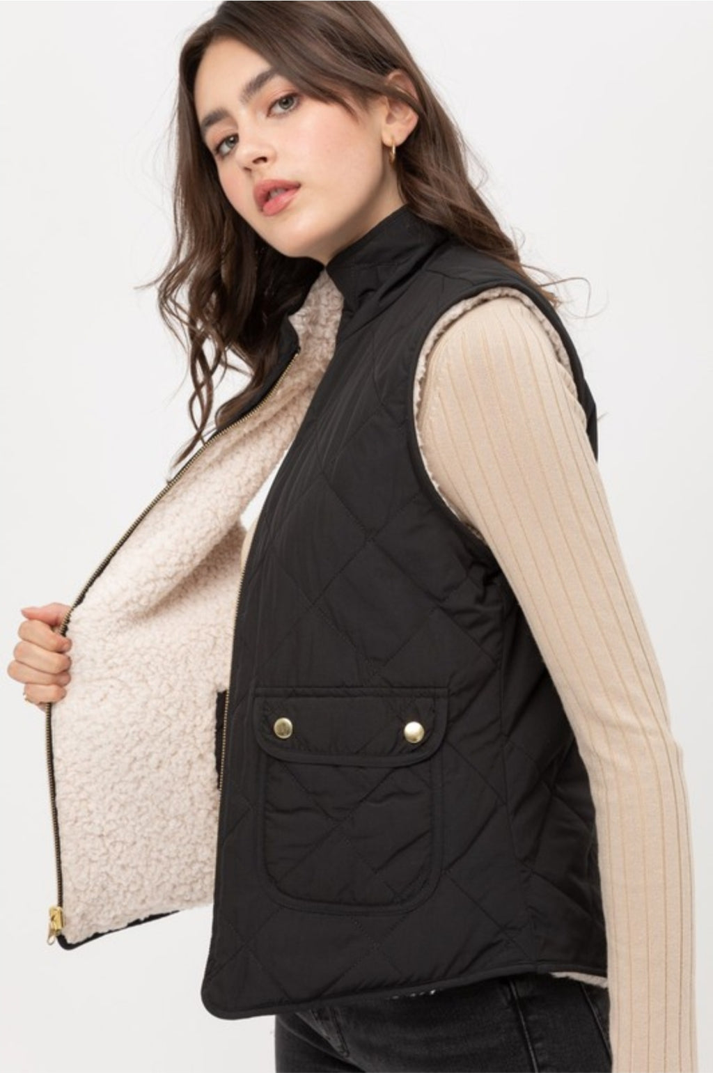 Reversible Quilted and Sherpa Vest