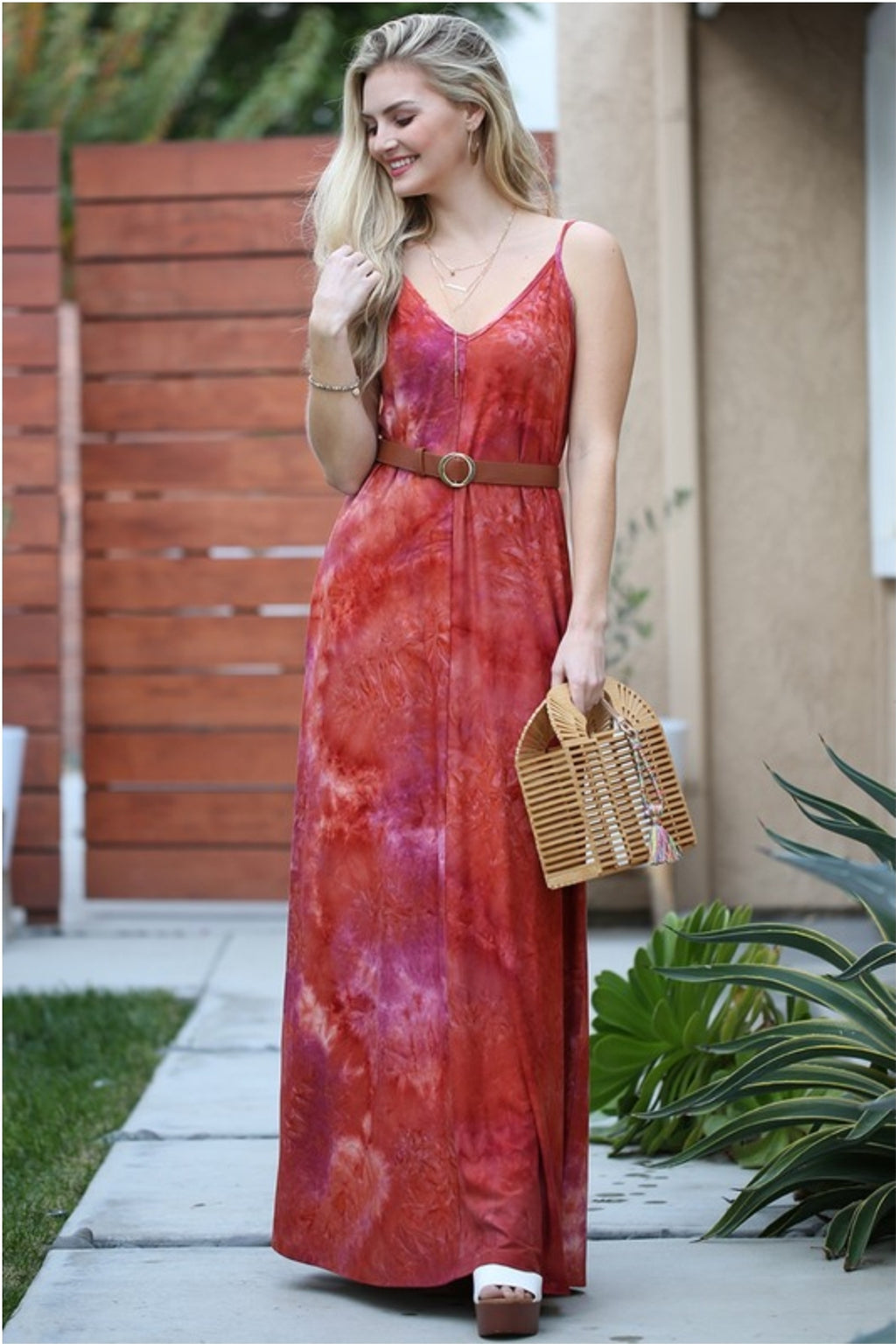 Deep V-Neck Sleeveless Maxi Dress in Rust Tie Dye