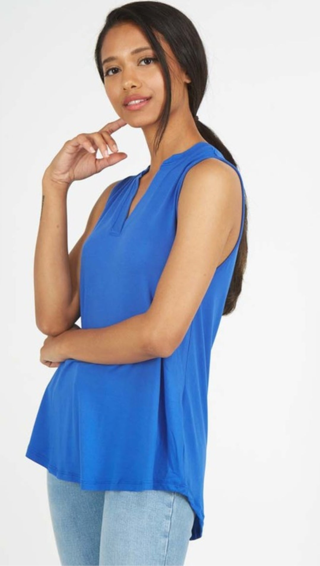 Placet Neck Sleeveless Top in Royal Blue