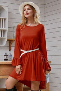 Ruffle Detail Long Sleeve Dress in Rust
