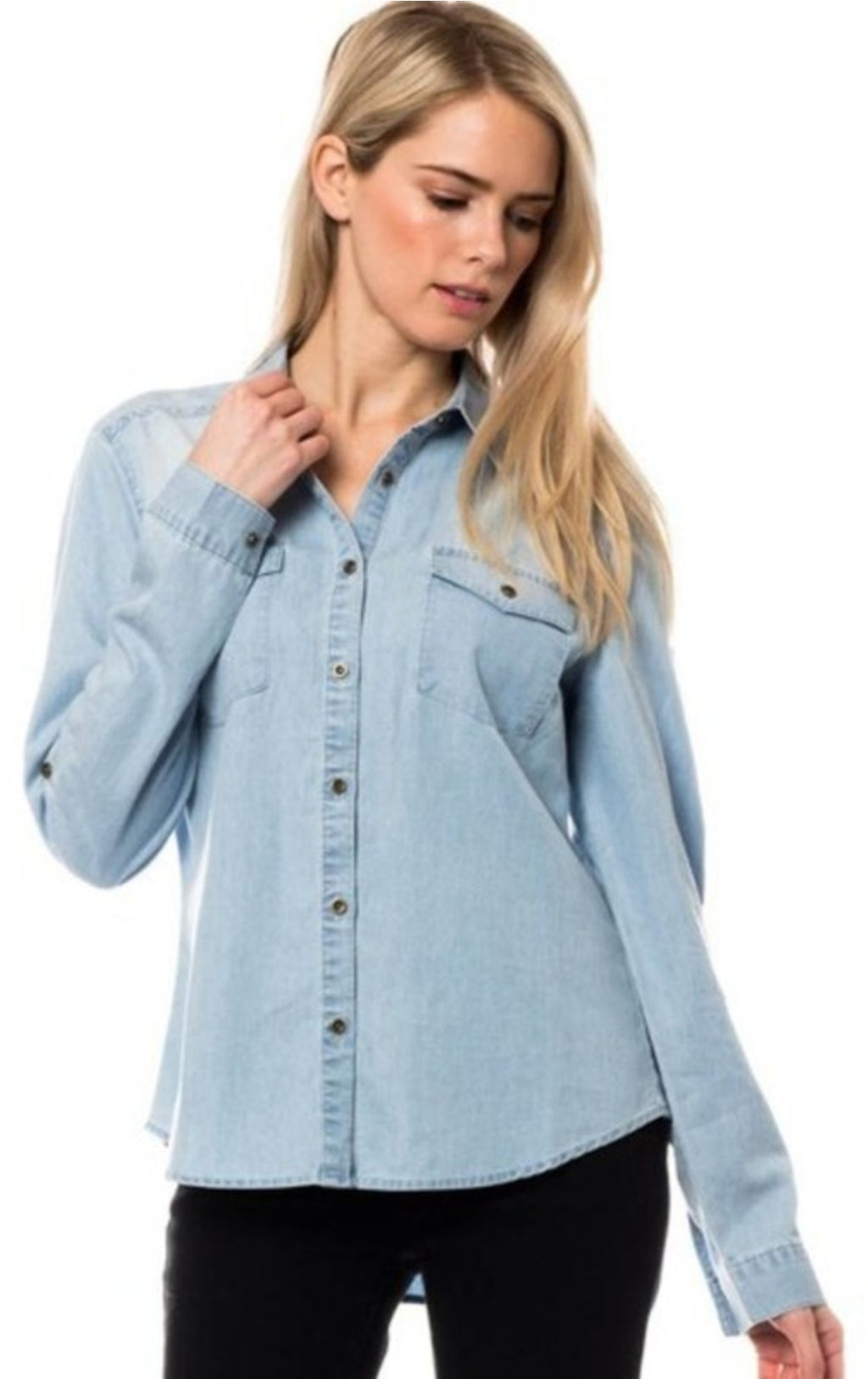 Chambray Shirt in Light Blue