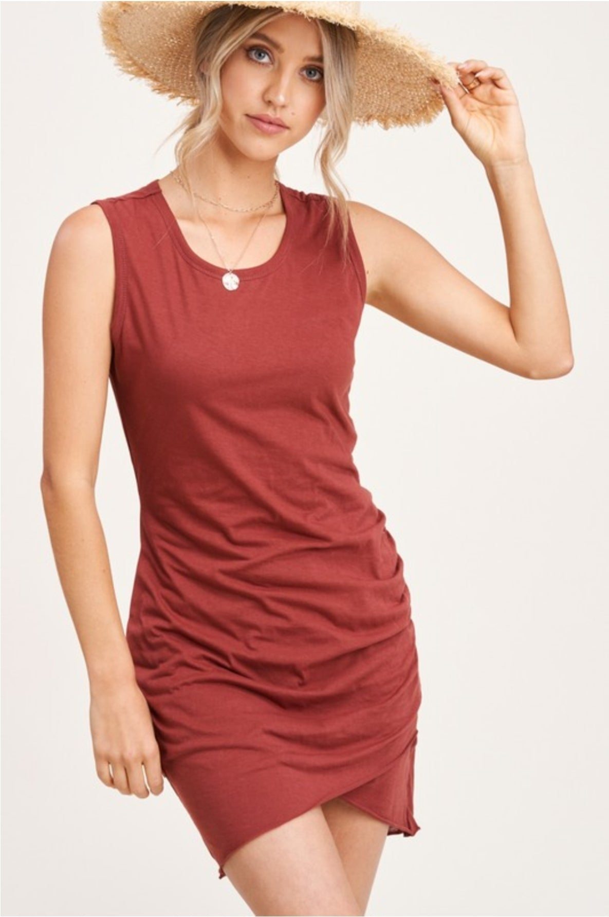 Sleeveless Ruched Mini Dress