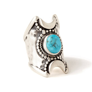Crescent Moons Ring w/ Turquoise Stone
