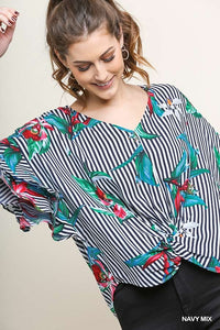 Striped & Tropical Print Ruffle Sleeve Top in Navy Mix