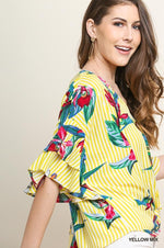 Striped & Tropical Print Ruffle Sleeve Top in Yellow Mix