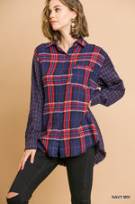 Multi-Plaid Button Front Top w/ Frayed Hem in Navy Mix
