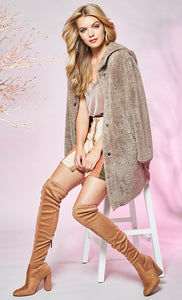 Furry Hooded Button Up Jacket in Mocha