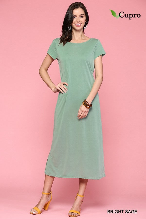 Twisted Back Bodice Dress in Bright Sage