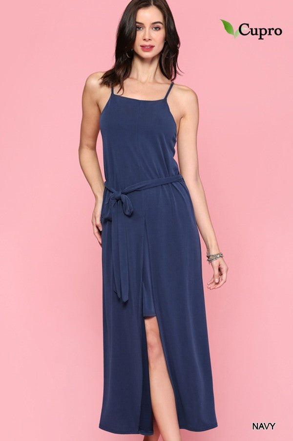 Square Neck Dress w/ Layered Skirt in Navy
