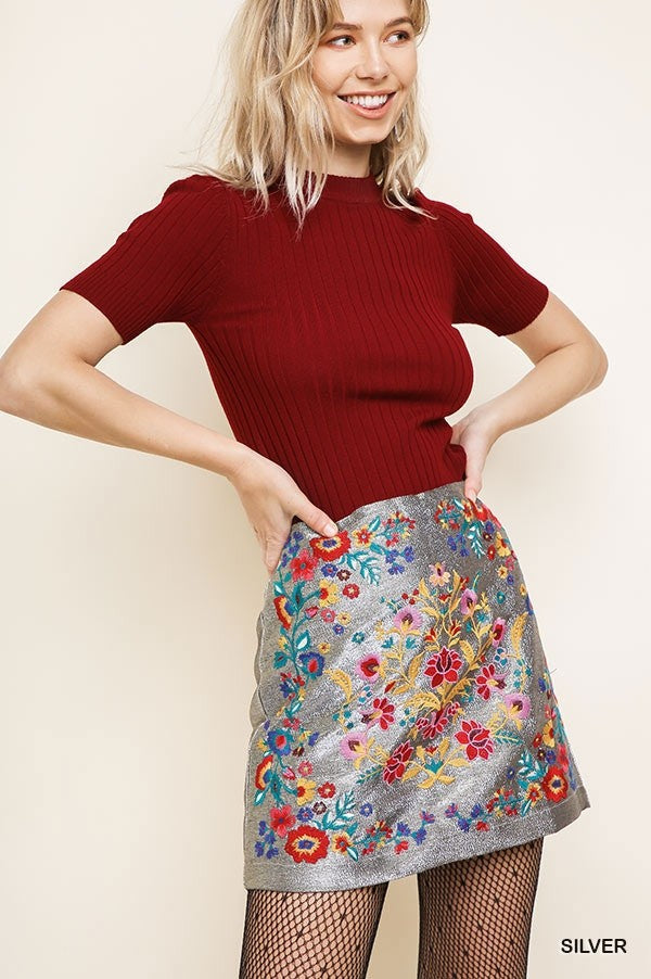 High Waisted Floral Embroidered Shiny Lurex Mini Skirt with a Back Zipper