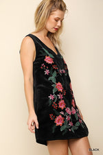 Floral Embroidered Velveteen Dress in Black