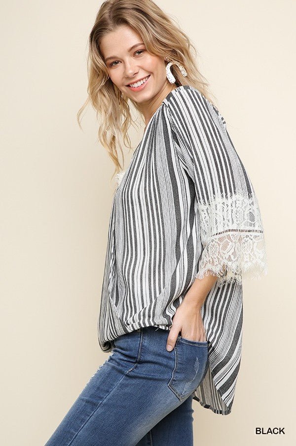 Striped 3/4 Lace Sleeve Crossbody V-Neck Top w/ Lace Trim in Black