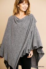 Heathered Knit Cowl Neck Poncho Tunic in Charcoal