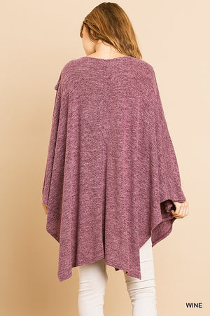Heathered Knit Cowl Neck Poncho Tunic in Wine