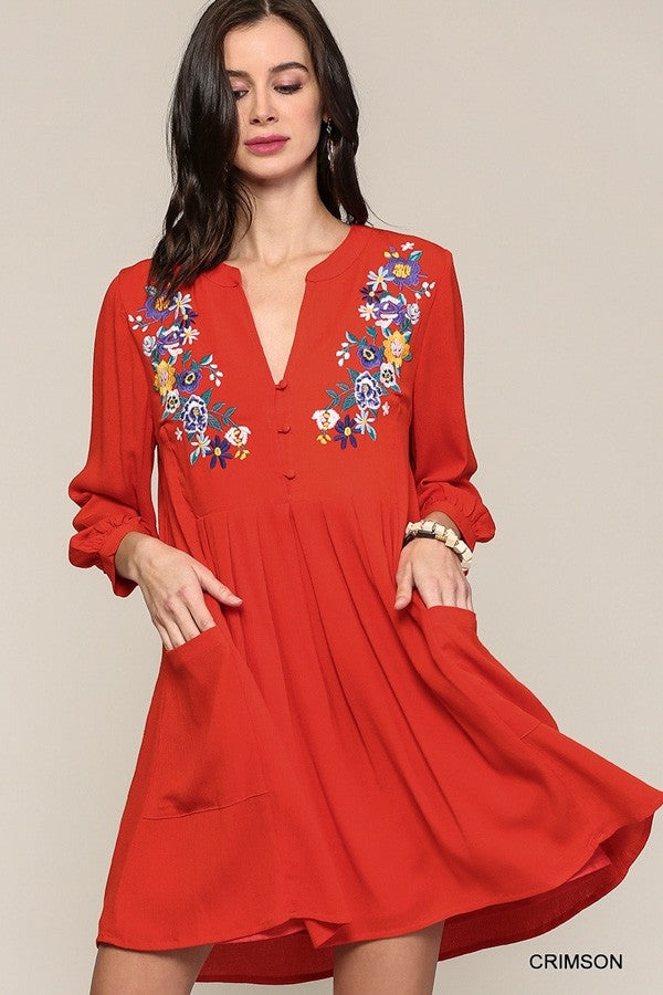 Embroidered Pleated Dress in Crimson