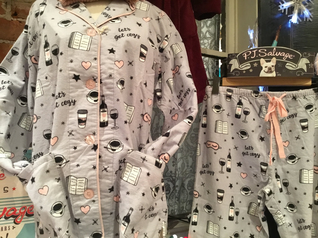 "PJ Salvage ""Let's Get Cozy"" Adult Pajama Set with Wine and Coffee Print in Grey"