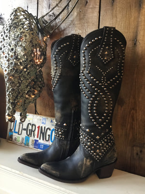 Old Gringo Tall Belinda Leather Boots in Black/Beige - tempting-teal-boutique